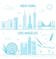 New York and Los Angeles skyline in vector image
