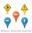 road sign pins set vector image