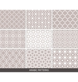 Set of nine Arabic patterns vector image