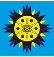 Sunny yellow-blue logo on a blue background vector image