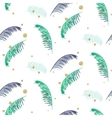 Blue and green palm leaves white seamless vector image
