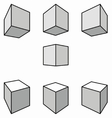 Cubes with shadows in perspective vector image