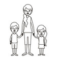 silhouette caricature full body mother taken hand vector image