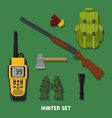 hunting a set of hunter items fla vector image