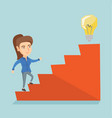 Business woman walking upstairs to the idea bulb vector image