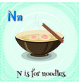 Flashcard letter N is for noodles vector image vector image
