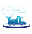 blue silhouette dump truck in the city with clouds vector image