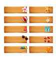 collection of blank wood banner with summer icon vector image