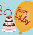 happy birthday cake streamer balloon vector image