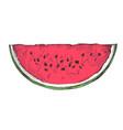 ripe watermelon slice hand drawn isolated icon vector image