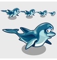 Shy cartoon Dolphins different size cute icons vector image