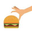 single hamburger and hand icon vector image