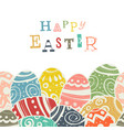 easter eggs on white eggs border by down side vector image vector image