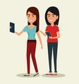 couple using smartphone icon vector image