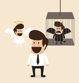 Businessman decide to belive angel mind vector image