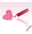 The pink heart not finished by a pencil vector image vector image