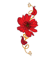 tattoo red flower vector image vector image