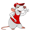 cartoon fun white rat in a T shirt and cap vector image