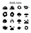 bomb explosion icon set graphic design vector image
