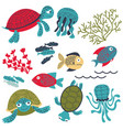 colorful sea turtles with fish and corals set vector image