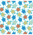 cartoon colorful turtles seamless pattern vector image vector image