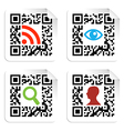 Social icons set with QR code sign label vector image vector image
