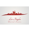 Los Angeles skyline in red vector image vector image