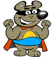 an Happy Strong Super Hero Bear vector image
