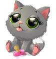 beautiful gray kitten vector image