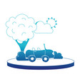 blue silhouette sport car in the city with tree vector image