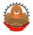 Lion athlete round emblem Big wild animal with vector image
