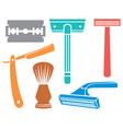 shaving razor and brush icons vector image