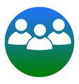 team work sign white icon in bluish vector image