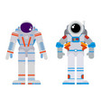 two astronauts in a flat style bright vector image