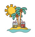 palms with beverages in the beach on vacation vector image