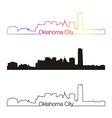 Oklahoma City skyline linear style with rainbow vector image vector image