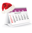 November 2015 desk calendar with Christmas hat vector image vector image