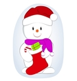cartoon of a cute snowman with vector image