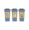 Colored doodle Recycle bins garbage separation vector image