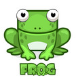 cute cartoon square green frog vector image