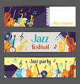 Jazz music party festival banners with musical vector image