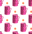 Seamless pattern with cartoon mugs-8 vector image