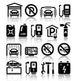 Transport service set of black icons vector image