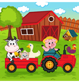 farm animals ride on tractor in yard vector image