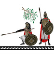 Ancient hellenic warriors second variant vector image