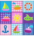 Patchwork in marine style vector image vector image