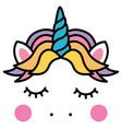 cute sleeping unicorn head colorful rainbow vector image