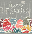 Easter eggs on wooden board eggs border by down vector image