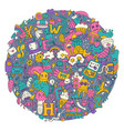 round doodle pattern vector image