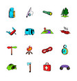camping comics icons set cartoon vector image